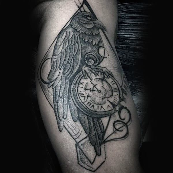Pocket Watch Mens Crow Inner Arm Tattoos