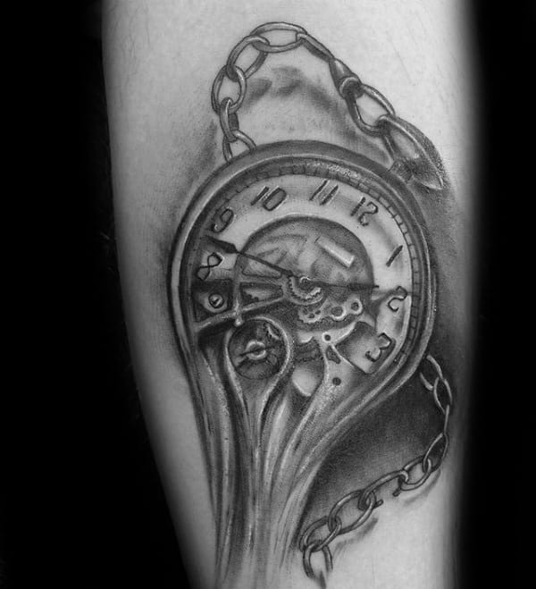 Pocket Watch Mens Melting Clock Forearm Tattoo
