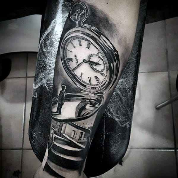 Pocket Watch Realistic 3d Mens Original Forearm Tattoo
