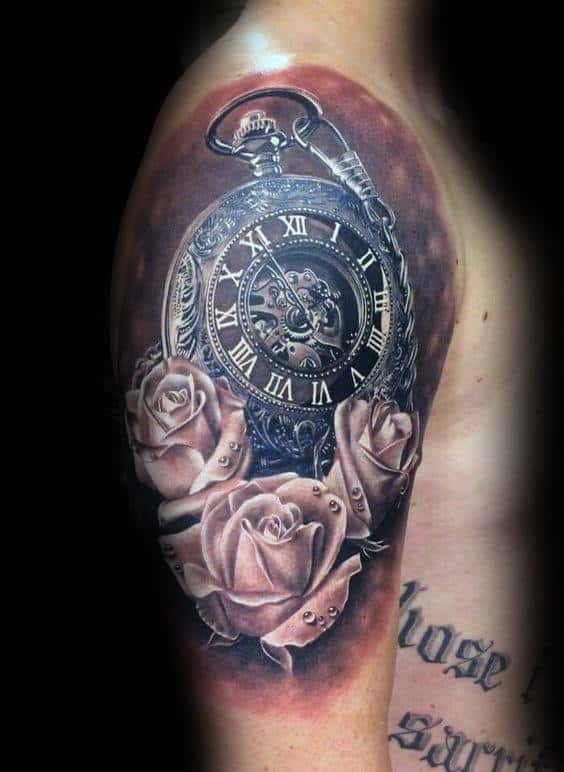 Pocket Watch Realistic Rose Half Sleeve Tattoos For Men
