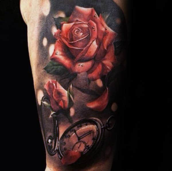 Pocket Watch Realistic Rose Petals Mens Half Sleeve Tattoos
