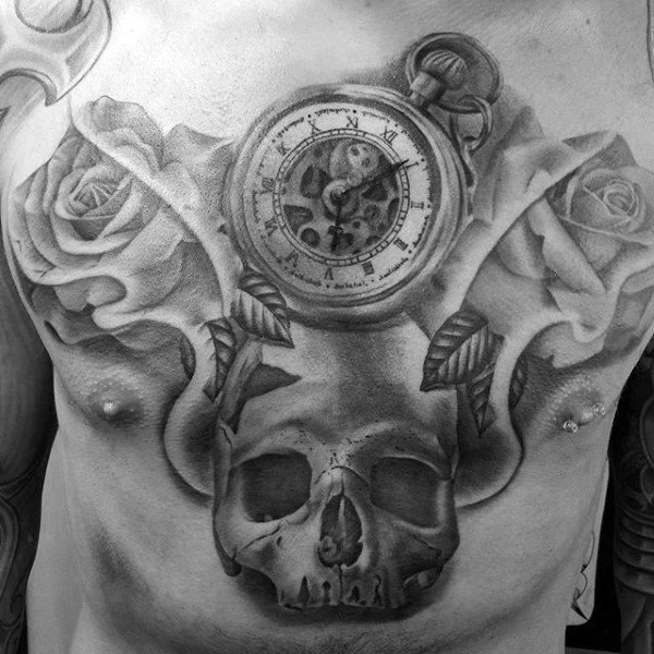 Pocket Watch Rose Skull Badass Male Chest Tattoo