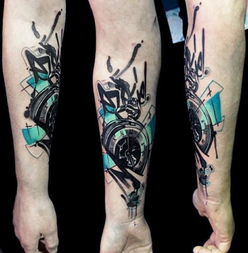 Pocket Watch Tattoo With Fluroscent Colors Tattoo On Forearms Guys