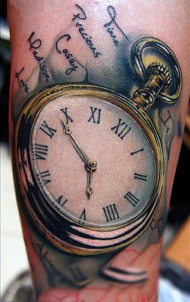 Pocket Watch Tattoo With Metallic Rim Tattoo On Forearms