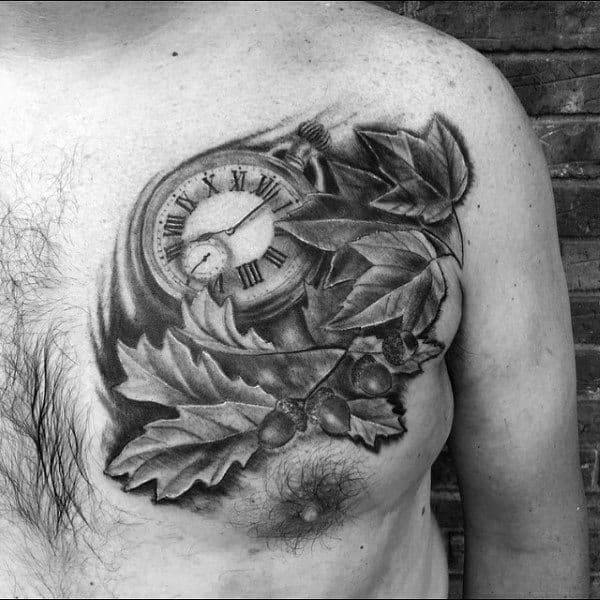 Pocket Watch With Leaves Shaded Mens Fall Chest Tattoos