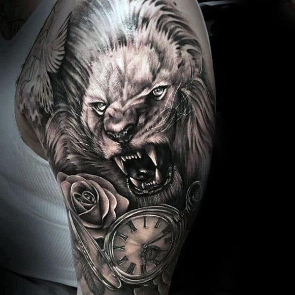 Pocket Watch With Lion And Rose Flower Mens Realistic Lion Sleeve Tattoo