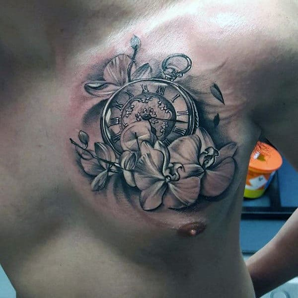 Pocket Watch With Orchids Mens Shaded Upper Chest Tattoo Designs
