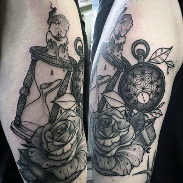 Pocket Watch With Rose And Hour Glass Tattoo Forearms Males