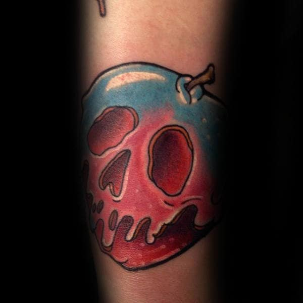 Poison Apple Mens Forearm Tattoo With Red And Blue Ink Design