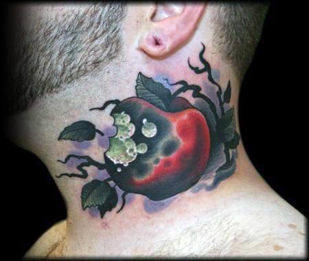 Poison Apple Mens Neck Tattoo Designs