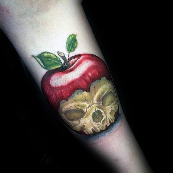 Poison Apple Skull Mens Manly Inner Forearm Tattoos