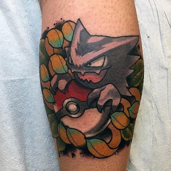 Poke Ball Neo Traditional Pokemon Male Leg Calf Tattoos
