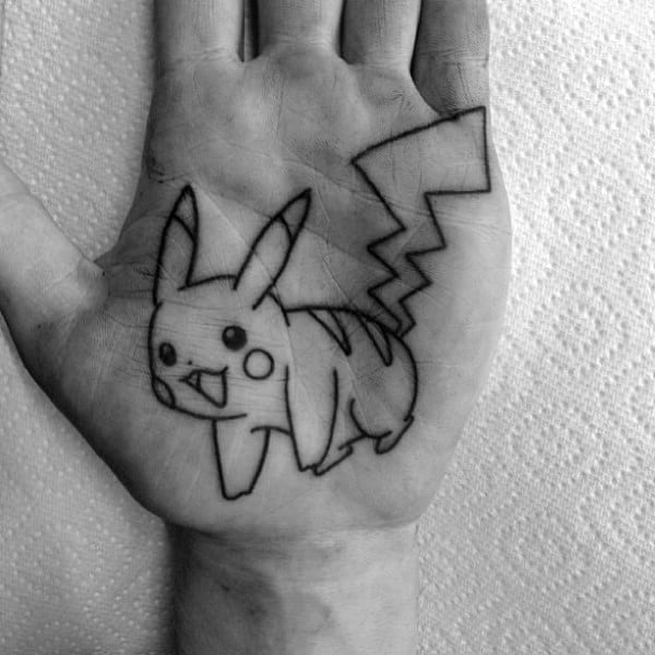 Pokemon Mens Pikachu Palm Tattoos With Black Ink Design