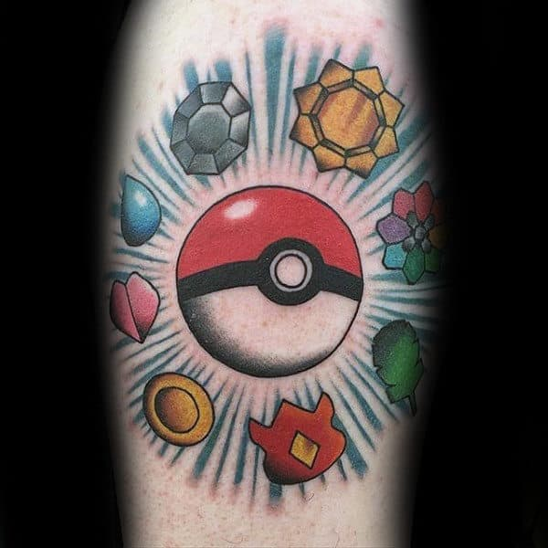 Pokemon Poke Ball With Badges Mens Arm Tattoo