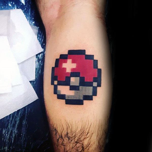 Pokemon Pokeball Leg Calf Pixel Tattoos For Males