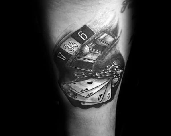 Poker Chip Mens Tattoo Designs On Leg Calf
