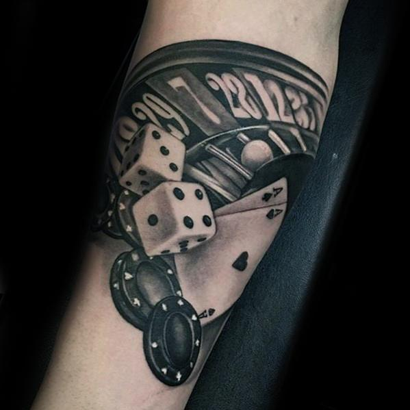 Poker Chip Tattoo Designs For Guys Inner Forearm