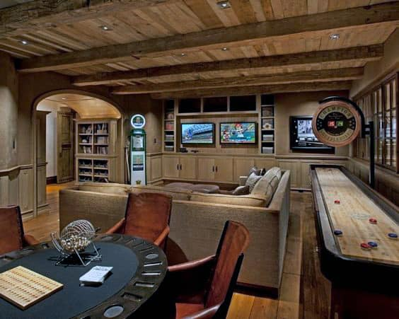 Poker Grame Room Home Basement With Wood Flooring And Ceiling Design