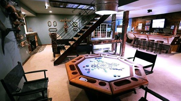 Poker Room With Bar Guys Basement Man Cave Ideas