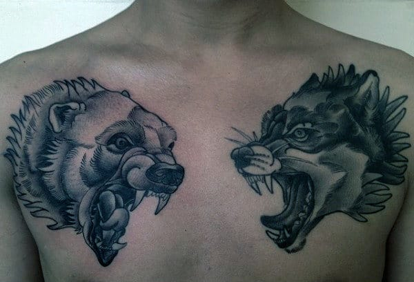 Polar Bear And Wolf Mens Chest Tattoos