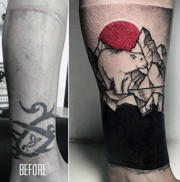Polar Bear Ice Caps Tattoo Cover Up Ideas Mens Leg Sleeve