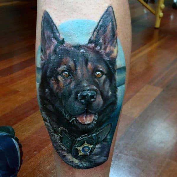 Police Dog Portrait Mens Back Of Leg Tattoos