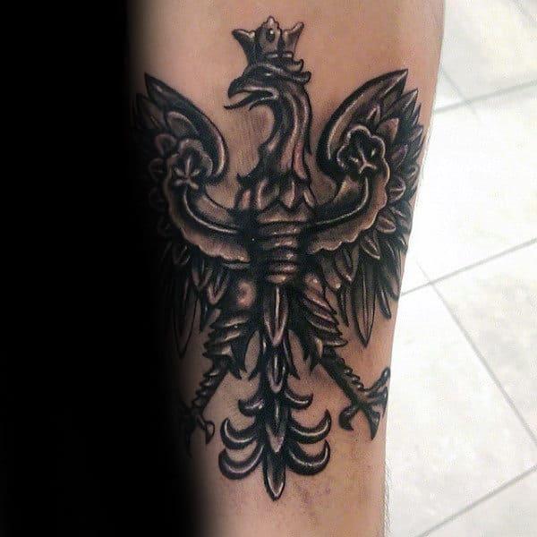 Polish Eagle Creative Mens Inner Forearm Tattoo