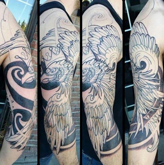 Polish Eagle Mens Half Sleeve Tattoo Designs