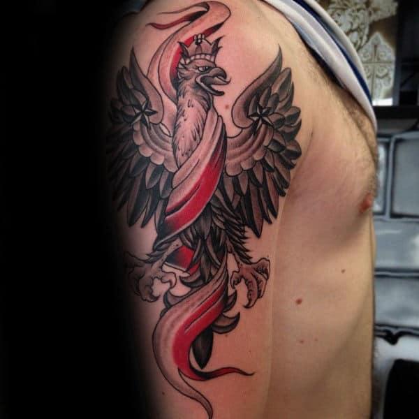 Polish Flag With Eagle Male Arm Tattoo Designs