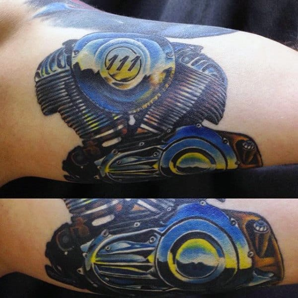 Polished Chrome Engine Biker Mens Arm Tattoo