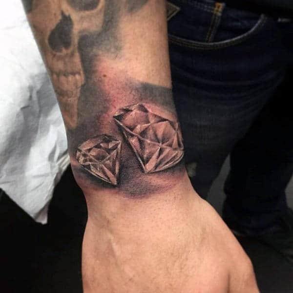 Polished Diamond Wrist Tattoo For Men