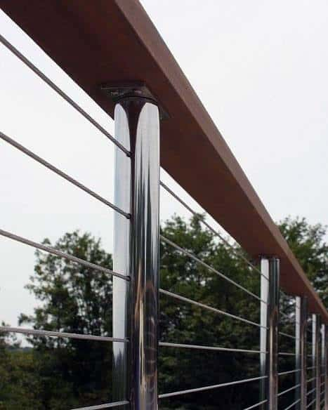 Polished Stainless Steel And Wood Board Design Ideas For Metal Deck Railing