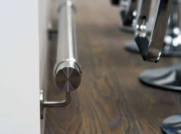 Polished Stainless Steel Modern Unique Bar Foot Rail