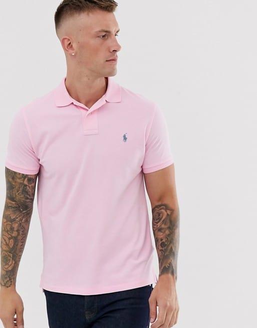 polo ralph lauren pique polo custom regular fit player logo in pink