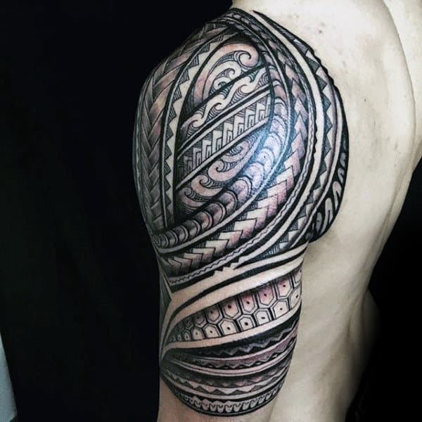 Polynesian Amazing Tribal Tattoos For Men Half Sleeve
