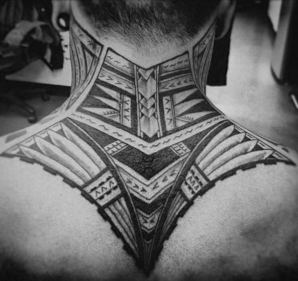 Polynesian Awesome Tribal Neck Tattoos For Men