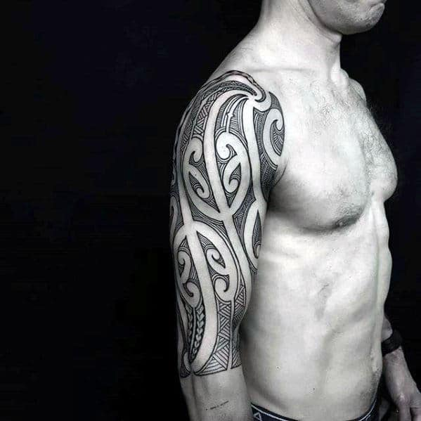 Polynesian Black Ink Tribal Tattoo Half Sleeve Ideas For Men