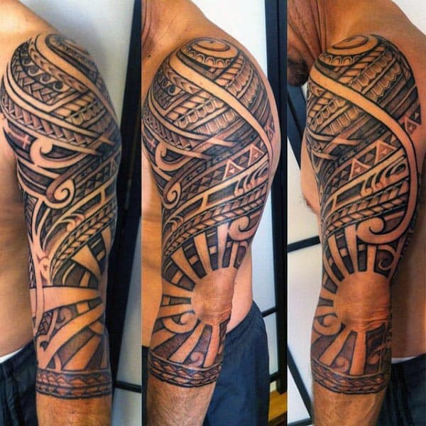 Polynesian Elbow Mens Rising Sun Tattoos