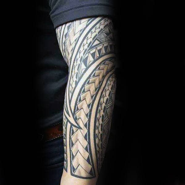 Polynesian Forearm Sleeve Pattern Mens Tattoos