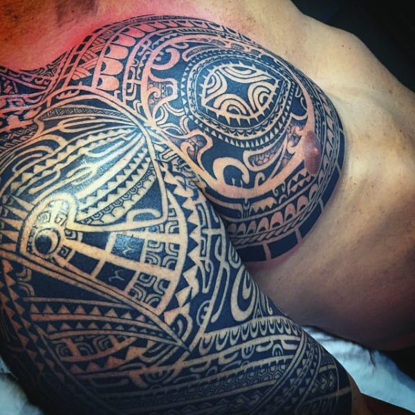 Polynesian Guys Half Sleeve Tribal Turtle Tattoos