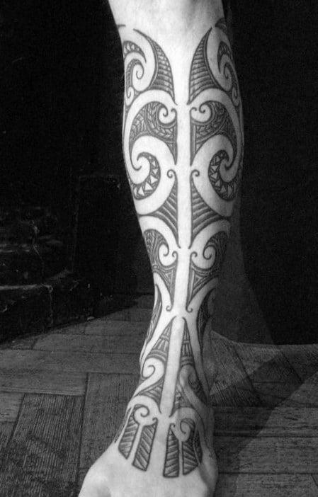Polynesian Guys Shin Tribal Tattoo Design Ideas