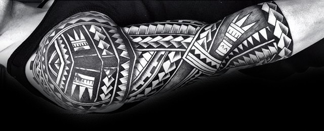 5de3613daa2f5 50 Polynesian Half Sleeve Tattoo Designs For Men - Tribal Ideas