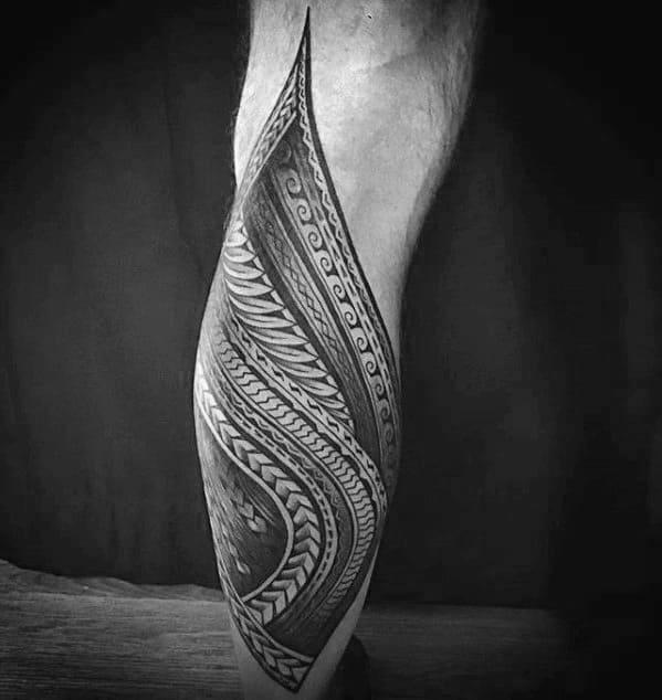 Polynesian Leg Awesome Tribal Guys Tattoo