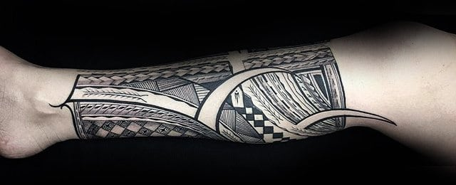 Polynesian Leg Tattoo Designs For Men