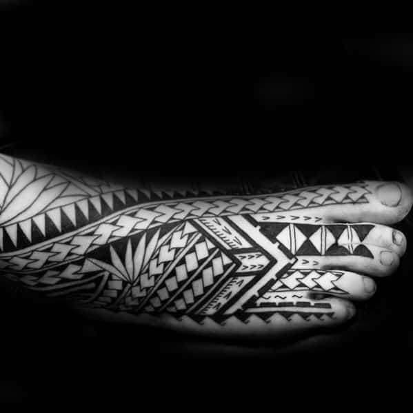 Polynesian Male Foot Tribal Tattoos