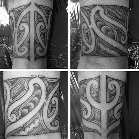 Polynesian Male Leg Band Tattoo Ideas