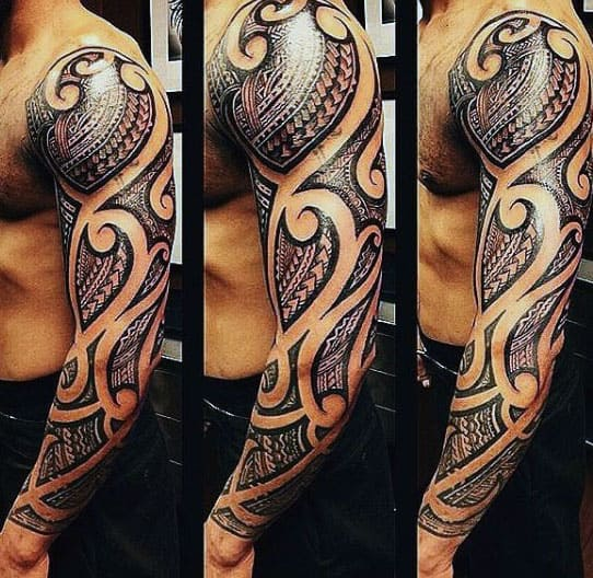 75 tribal arm tattoos for men interwoven line design ideas. Black Bedroom Furniture Sets. Home Design Ideas
