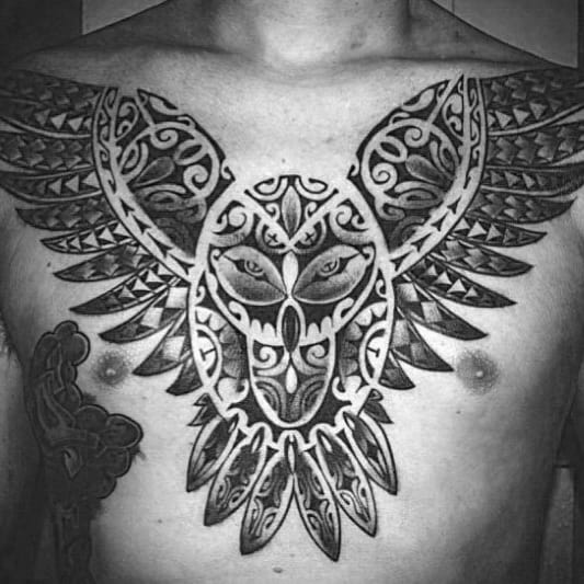 Polynesian Male Tribal Owl Tattoo Design On Chest