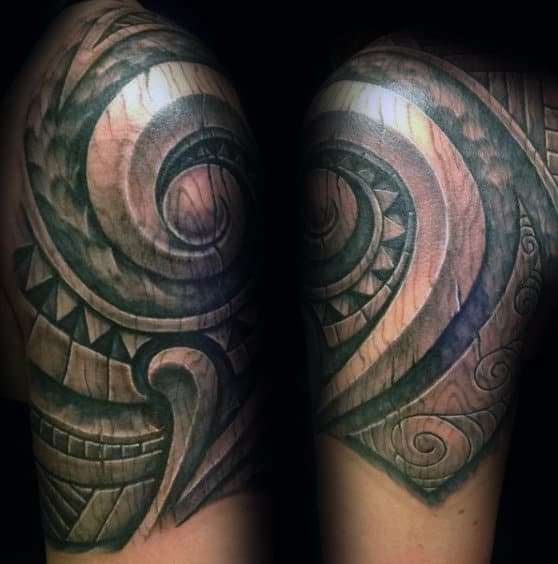 Polynesian Male Wood Carving Quarter Sleeve Tattoo With 3d Design