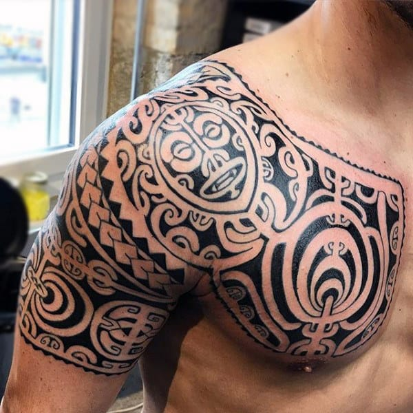Very grateful Polynesian shoulder tattoos for men will